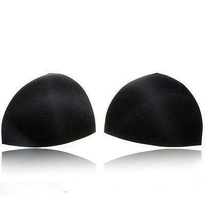 BLACK Bra Pad 2 Pcs Triangle Sewing In Insert Foam Soft Cup Removable Padded UK