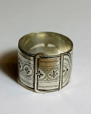 Antique Victorian silver plated Buckle belt style napkin ring number 6/9