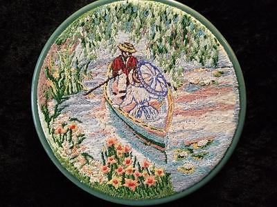 Vintage Crinoline Lady & Gent Rowing in Lake ~ Hand Embroidered Framed Picture