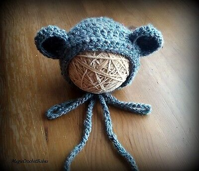 Newborn Baby Boy Girl Handmade Crochet bear  Bonnet Hat Photo Prop