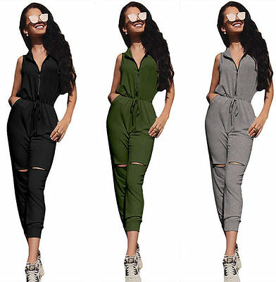Ladies Clubwear Sleeveless Playsuit Bodycon Party Jumpsuit Long Romper Women