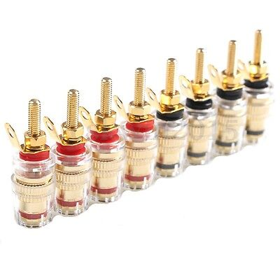 8Pcs Speaker Terminal Binding Posts Clear Gold Plated Amplifier Connector Plug