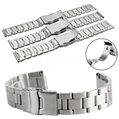 20MM / 22MM / 24MM Silver Stainless Steel Watch Band Wrist Bracelet Replacement