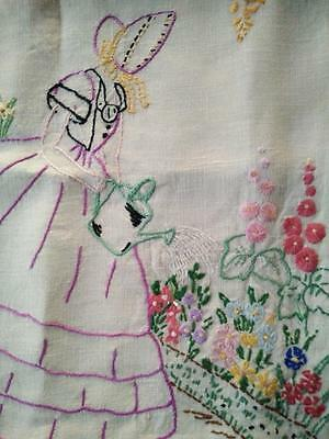 Stunning Pink Crinoline Lady ~ Vintage Hand Embroidered Cushion Cover