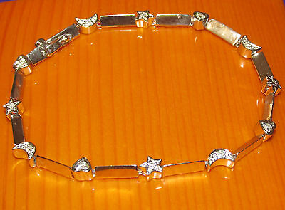 SECONDHAND 9ct WHITE GOLD DIAMOND LINE BRACELET 18.5cm
