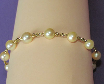 STUNNING SECONDHAND 18ct YELLOW GOLD PEARLS LINE BRACELET19.cm