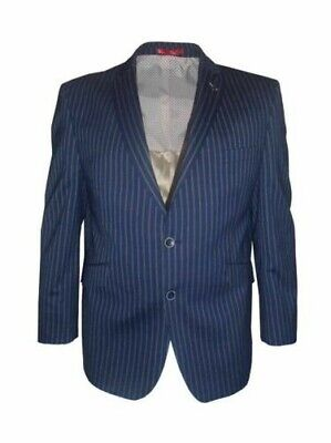 SCOTT Mens Classic Navy Stripe Stretch Wool Blend Sports Jkt, Size 48-60, S/R/L