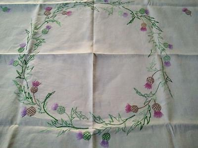 Purple Thistles Circle 'Oh Bonnie Scotland' Vintage Hand Embroidered Tablecloth