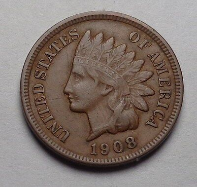 1908 Indian Head Cent,full Liberty,diamonds,very Nice Coin!!!(T)