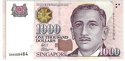 SINGAPORE 1000 Dollars P43 1999~~2012 < 2 TRIANGLE's > UNC, MINT BANK NOTE