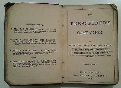 Antique Medical Book.1874.the Prescriber's Companion.263 Pages.prop/display.