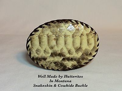 Handmade Buckle-Made by Hutterites In Montana-Cowhide & Snake