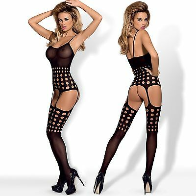 New Womens Lingerie CRUTCHLESS Bodystocking ONE SIZE Black Bodysuit Catsuit G310