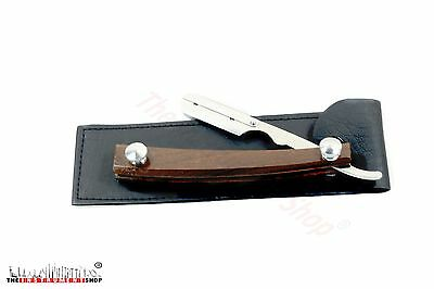 Wooden handle Shaving Classical Razor Barber Salon Shavette Free Pouch & Blades