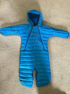 Patagonia down sweater baby bunting; Blue; 6 months