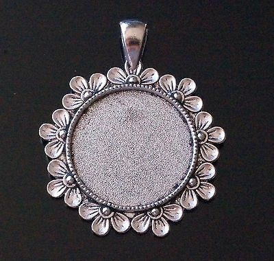 Silver Round Flower Cabochon Cameo Settings Charm Pendant 47mm x 38mm Tray 25mm