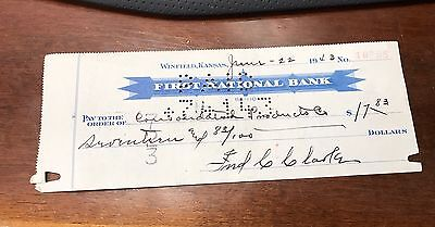 Fred C Clarke HOF Pirates Pittsburg Autograph Check 1943 Auto Signed