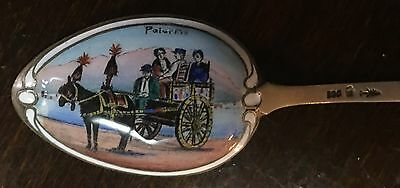 Rare Antique 800 Silver Enamel Palermo Back Bowl Souvenir Spoon