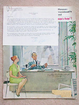 Norman Rockwell & subject The Window Washer autographed magazine cover letter