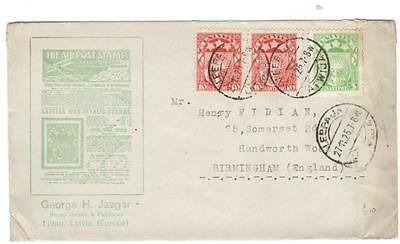 a252 Latvia advertising cover George H Jaeger Stamp Dealer to England