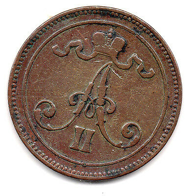 Finland 10 Pennia copper 1867 strong XF (under Russia)