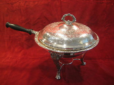 5 Piece Silverplate Chafing Dish With Stand Floral Design Silver Liner  Bowl Euc