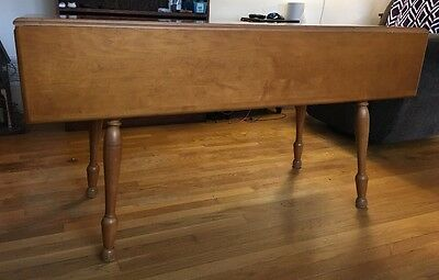 """Antique Wooden Drop Leaf Dining Room Side Table Maple 56""""x39"""""""