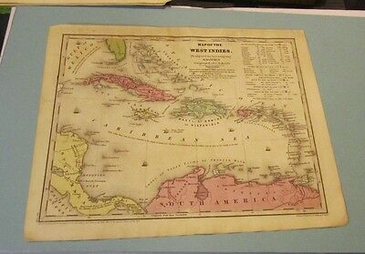 1844 Smith Geography Hand Colored Map of the West Indies Cuba Puerto Rico Haiti