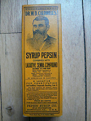 unopened box with bottle: Dr Caldwell's Syrup Pepsin, Monticello, IL
