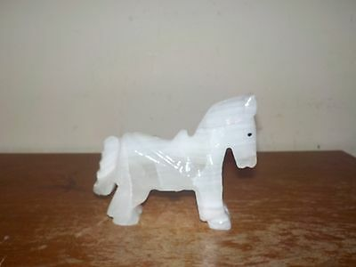 Vintage Carved White Stone Burro or Pony Figurine