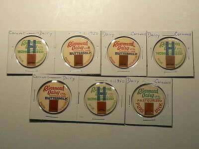 Rivermead Dairy Bottle Caps, Lot of 7, Buttermilk, Homogenized #G6344