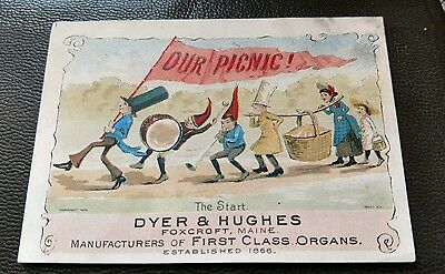 Victorian Trade Card DYER & HUGHES FOXCROFT, MAINE Palmer Cox Brownies? 1880's
