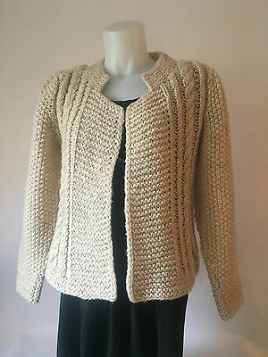 Chunky Vintage Hand Knit Cardigan Sweater by CAPTIVATE Cream Secretary Open SM