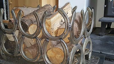 Log holder, log basket, log rack, metal horseshoes handmade