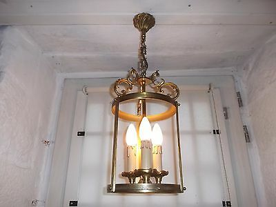 French vintage circular lantern bronze perfect to hall way 3 light ,no glass