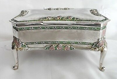 Vintage SILVER PLATE jewellery box casket QUEEN ANNE style ENAMELLED ROSES 20thC