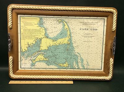 Vintage Wooden Serving Tray Cape Cod Massachusetts East Coast Nautical Chart Map