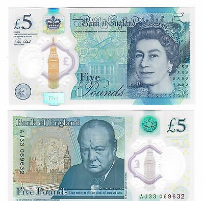 Bank Of England - New Issue 5 Pounds Unc Banknote 2015 Year Churchill