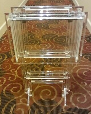 Stunning Mid Century Modern Hollywood Regency Lucite TV Table Trays