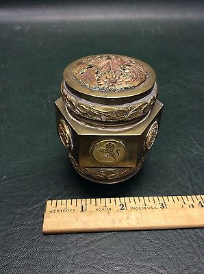 Antique Chinese Brass and Copper Spice or Tea Hexagon Box w/ Lid Bird Lion Monk
