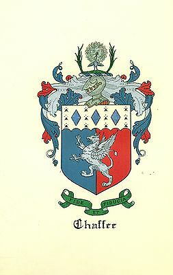*Great Coat of Arms Chaffee #2 Family Crest genealogy, would look great framed!