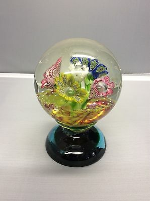 Rare Perthshire Paperweights Footed Flower Bouquet Controlled Bubble ~ As Is