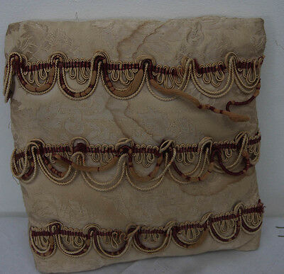 "SMALL ANTIQUE VINTAGE CUSHION WITH CORD DETAIL 8 1/2"" x 9 1/2"" (5100)"