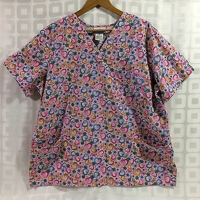 SB Scrubs Butterflies Flowers Hearts Multicolor Womens Size XL Medical Scrub Top
