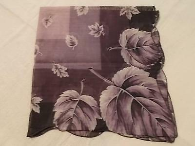 Large Handkerchief Shades of Purple with Leaf Pattern - Never Used New Condition