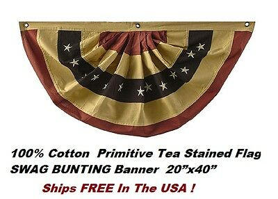 "Tea Stained American Flag All Cotton BUNTING Banner 20""x40"" W Embroidered Stars"