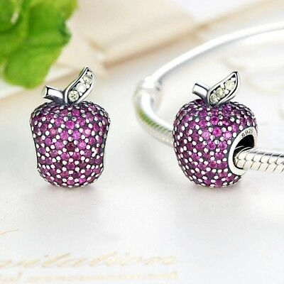 Stunning 925 Silver Pink Pave Apple Charm