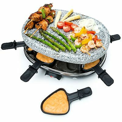 BESTCUCINA 8 Person Natural Stone Plate Raclette Grill Table Top BBQ Hotplate