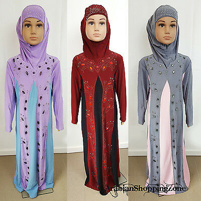 Children Girls Muslim Dress Kids Long Sleeve Holiday Abaya Islamic 3-12T