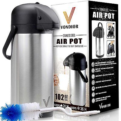 3 L Thermal Airpot Beverage Dispenser (102 Ounce)-Stainless Steel for Hot/Cold